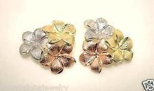 15.5mm Hawaiian 14k TriColor Gold DC 3 Plumeria Flower Cluster Stud Earrings #1
