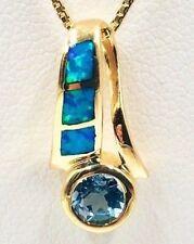14k Yellow Gold Elegant Pendant w/ Opal Inlay & Round Bezel-Set Blue Topaz- 1.9g