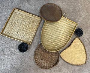 7 Decorative Boho Farmhouse Wall Baskets Wicker Rattan Plate Baskets Fun Shapes