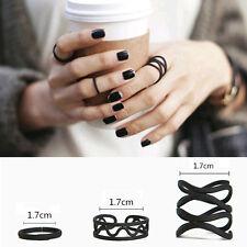 Fashion 3PCS Punk Black Stack Plain Above Knuckle Ring Finger Midi Rings Set