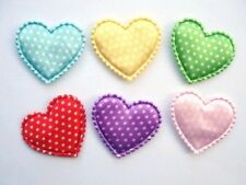 """60 Padded Color Heart 1.5"""" Applique/Satin Polka Dot/valentine/sewing/Fabric H107"""