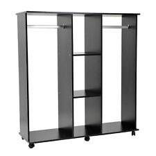 Open Wardrobe Double Mobile Bedroom Storage Shelves W/ Clothes