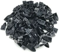Lego 100 New Black Plates Modified 1 x 1 with Tooth Horizontal Pieces