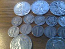 $3.50 Face Value 5 Walking Liberty Halves 10 Dimes 90% Silver Coins