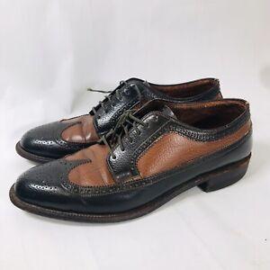 Vintage Edwin Clapp Leather Oxford Brogue Wingtip Shoes Black Brown Mens 9 Rare