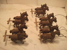 OLD VINTAGE CAST IRON 10 HORSES BUGY WAGON  PIECES TOY