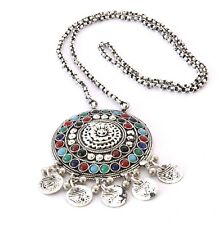 Vintage Chain Pendant Long Statement Afghan Necklace Fashion Jewelry Boho Kuchi
