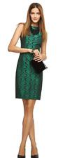 L'Wren Scott for Banana Republic Dress UK 6 Green Black Damask Sheath Elegant