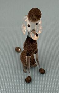 Vintage Retro Blown Glass Poodle Dog Figurine Ornament So Cute!