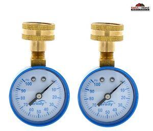 2 Water Pressure Test Gauge 0-100 PSI ~ New