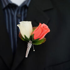 Prom Wedding Event Man Boutonniere-coral IVORY silver gray Rhinestone