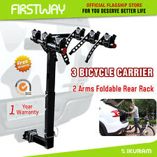 IKURAM 3 Bicycle Bike Car Carrier Rear Rack Steel Foldable Hitch Mount Tow bar
