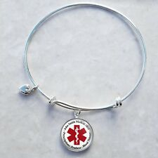 Custom Text Medical Alert Sterling Silver Wire Bangle Charm Bracelet