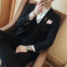Men's Double Breasted Wedding Suits Dress Formal Jacket&Pant 3 Pieces Slim Fit