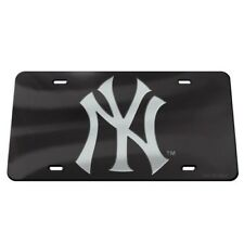 NEW YORK YANKEES BLACK AND SILVER CRYSTAL MIRRORED CAR LICENSE PLATE MLB LICENSE