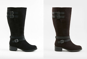 EX EVANS EXTRA WIDE FIT (EEE) STRAP HIGH LEG KNEE BOOTS MEMORY FOAM CURVE RRP£60