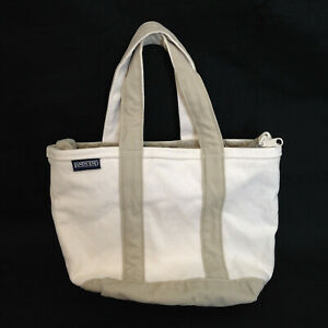 Lands End Canvas Tote Bag SMALL Beige Natural Zip Top Boat Beach Pool Classic