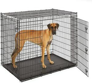 """XXL Large Dog Double Door Crate Metal Giant Breed Pet Cage 54"""" Long Heavy Duty"""