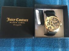Original Ladies Juicy Couture Jetsetter Gold Leopard Black Rubber Strap Watch