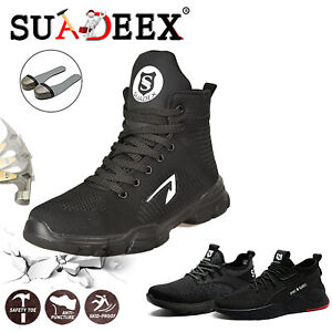Mens Steel Toe Safety Shoes Work Boots Indestructible Lightweight Hiker Sneakers