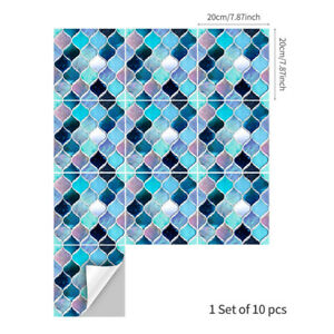 10pcs Blue Purple Marble Self-adhesive Bathroom Kitchen Wall Stair Tile Sticker