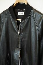 SAINT LAURENT Black Leather Bomber Jacket Medium UK 40/EU 50 Chest