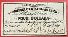 1861 $4 Us Confederate States of America! Old Us! Genuine! Choice Crisp Vf!