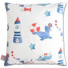 Süße maritime Kissenhülle Blubb-Kids in Blau-Rot  40x40 cm mit Reißverschluss