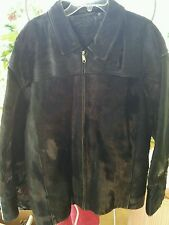 MENS DAVOUCCI GLOSSY BLACK LEATHER PONY HORSE HAIR FUR JACKET COAT SZ 3XL GUC