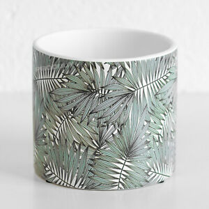 Palm Leaf Floral Ceramic Indoor Small 13cm Round Plant Pot Cover Home Planter