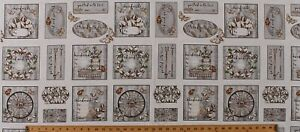 """17.5"""" X 44"""" Panel Sewing Quilting Quilt Labels Moths Cotton Fabric D750.03"""