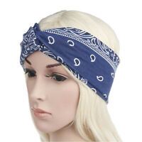 Ladies Twist Knot Pattern Headband Elastic Head Wrap Turban Hair Band Flower G
