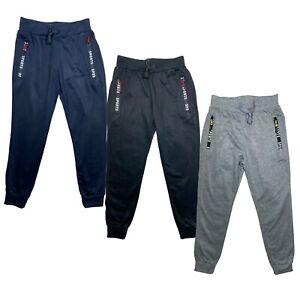 Boys Girls Plain Basic Zip Pockets PE School Jogging Sports Bottoms Joggers