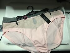 Ladies Soft Stretchy Pretty High Cut Briefs (Pink & Taupe) 3XL (26-28)