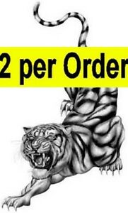 Tiger 2 Temporary Fake Tattoo Waterpoof Fiery and Passionate Cat Art Transfer