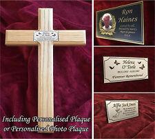 23'' Wooden Memorial Cross Solid Oak Grave Marker & Bespoke Personalised Plaque
