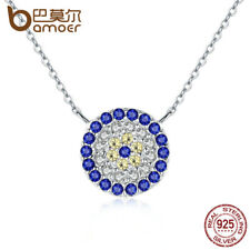 Bamoer Shine 925 Sterling silver Necklace Round Pendant With Blue Zircon Jewelry