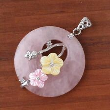 Natural Rose Quartz Crystals Inlay Shell Flower Round Hollow Reiki Stone Pendant