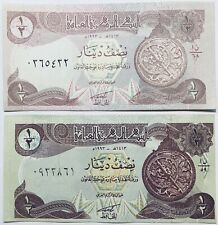 2 CENTRAL BANK OR IRAQ HALF IRAQI DINAR BANKNOTES MIDDLE EAST/ARAB 1992-93 ISSUE