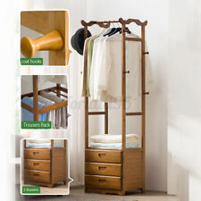 2/3 Drawer 8 Hooks Tree Coat Rack Wooden Clothes Hanging Stand Storage Holder