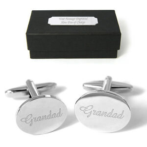 Grandad Cufflinks Engraved Gift Personalised Birthday Xmas Fathers Day Present
