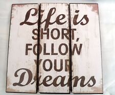 """LIFE IS SHORT WOODEN SIGN KITCHENALIA  SIZE 16"""" x 16"""" approx"""