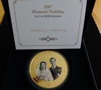 2007 GOLD PLATED PROOF 5OZ COOK ISLANDS $5 COIN SET WITH DIAMONDS BOX + COA