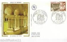 1977//ENVELOPPE SOIE**FDC 1°JOUR**ABBAYE DE FONTENAY-COTE D'OR**TIMBRE Y/T 1938