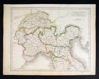 1844 Hall Map N Italy Switzerland Venice Milan Florence