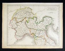 1844 Hall Map N Italy Switzerland Venice Milan Florence