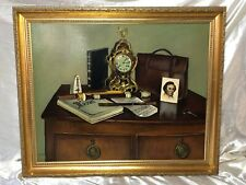 """Oil Painting """"Personal Possessions"""" French Louis XVI Clock Mozart Music Lover"""