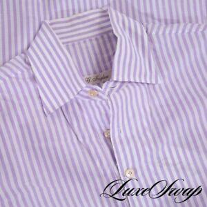 #1 MENSWEAR G. Inglese Deluxe HandMade White Purple Voile Tunic Popover Shirt 16