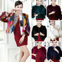 Women AU100% Real Farm Raccoon Fur Coat 3/4 Sleeve Warm Colored Jacket 6 Colors