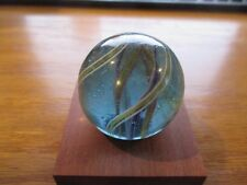 Blue Glass swirl Divided Core hand made marble 1.837 inch w Free ship!